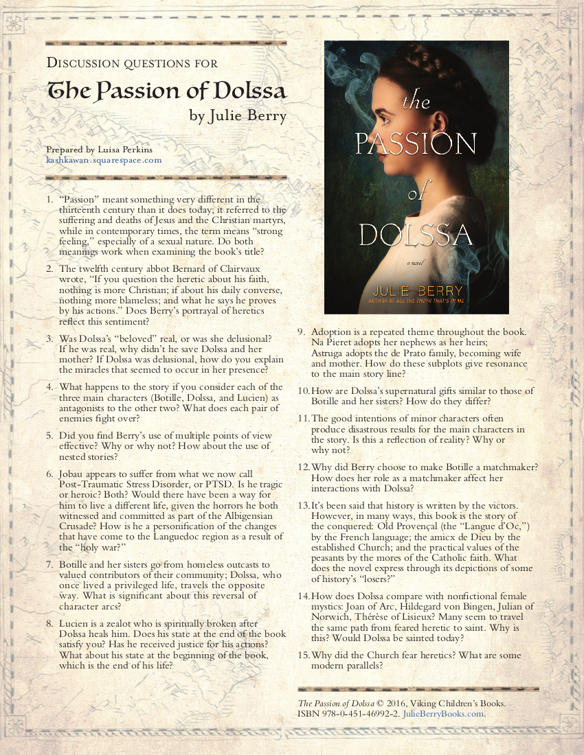 Discussion Questions for The Passion of Dolssa by Julie Berry